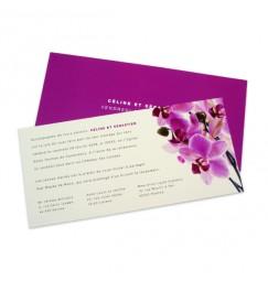Faire part mariage orchidée rose