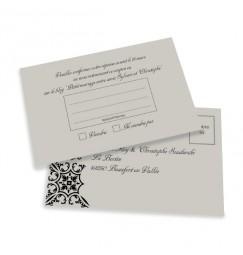 Carton réponse baroque argent