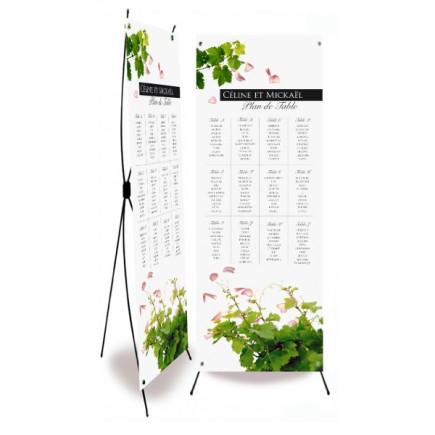 Plan de table mariage pétales et vignes wrap