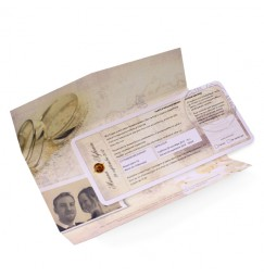 Wedding invitation travel ticket