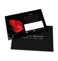 Carton réponse rose noir et rouge