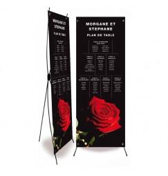 Plan de table mariage rose noir et rouge