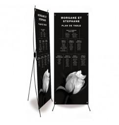 Plan de table mariage rose noir et blanc