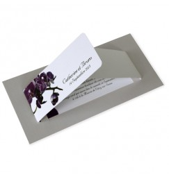 Wedding invitation purple orchid wrap