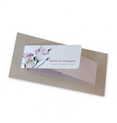 Faire part mariage lisianthus rose wrap