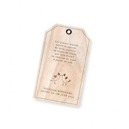 Carton d'invitation vintage bois