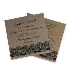 Wedding invitation kraft square