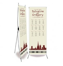 Table plan banner plane ticket cityscape