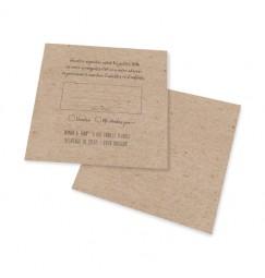 RSVP card vintage kraft laser cut