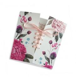 Faire part mariage corset boho fleurs