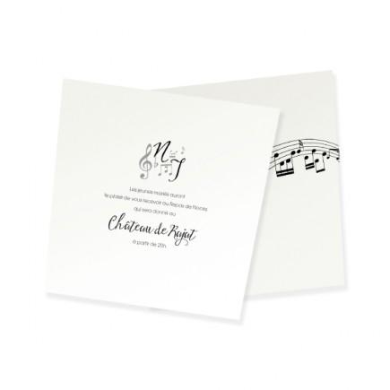 Carton d'invitation les notes de musique