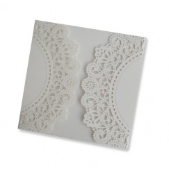 Square lace wedding invitation exterior