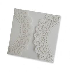 Square lace wedding invitation exterior