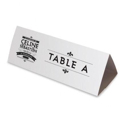 Nom table art nouveau noir et blanc