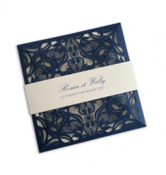 Wedding invitation blue lace