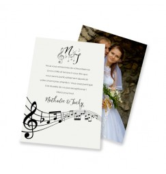 Classic thank you card music notes