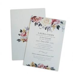 Faire part mariage elegant rose