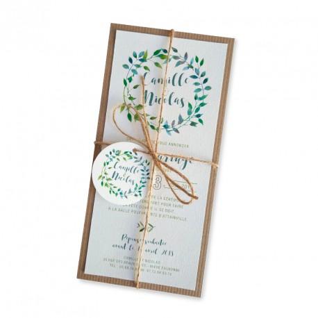 Wedding invitation green leaves