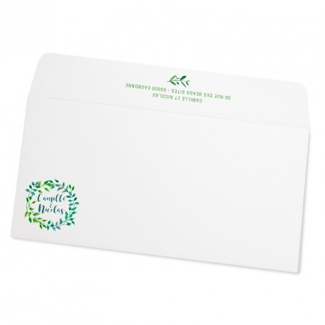 Wedding envelope green leaves