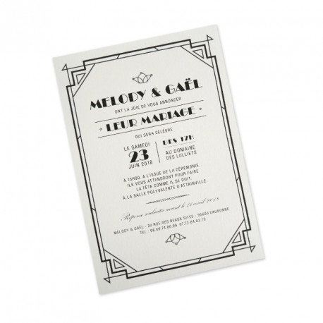 Wedding invitation vintage art deco