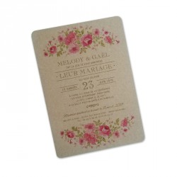 Wedding invitation kraft wild flowers