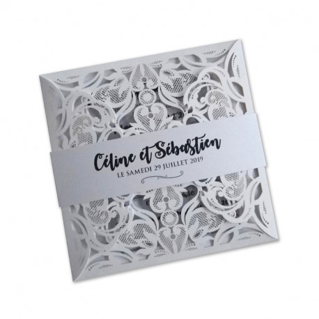 Faire part mariage dentelle blanc photomaton