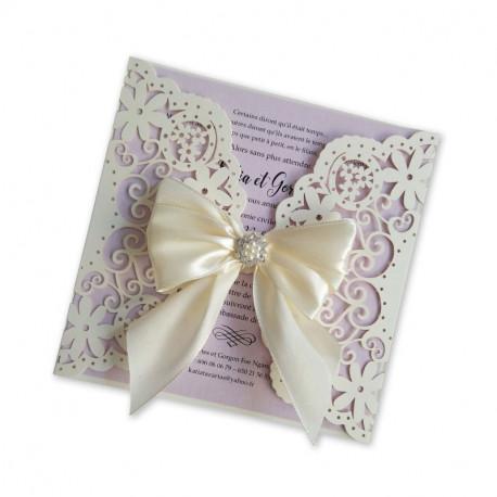 Wedding invitation pearl lace