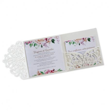 Wedding invitation lace pocket