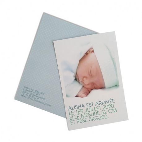 Birth announcement green diamonds