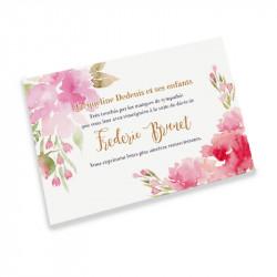 Carte remerciement décès acuarela fleurs