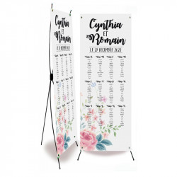 Plan de table mariage fleurs wrap