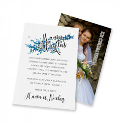 Classic thank you card lace blue leaves