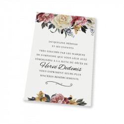 White rose condolences thank you cards