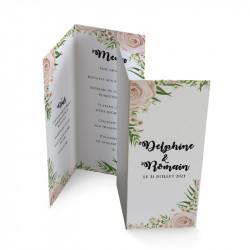 Wedding menu dentelle rose