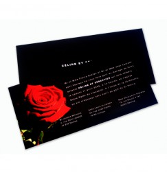 Wedding invitation black and red rose