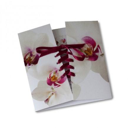 Faire part mariage corset orchidée rose