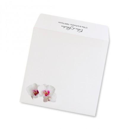 Enveloppe mariage corset orchidée rose